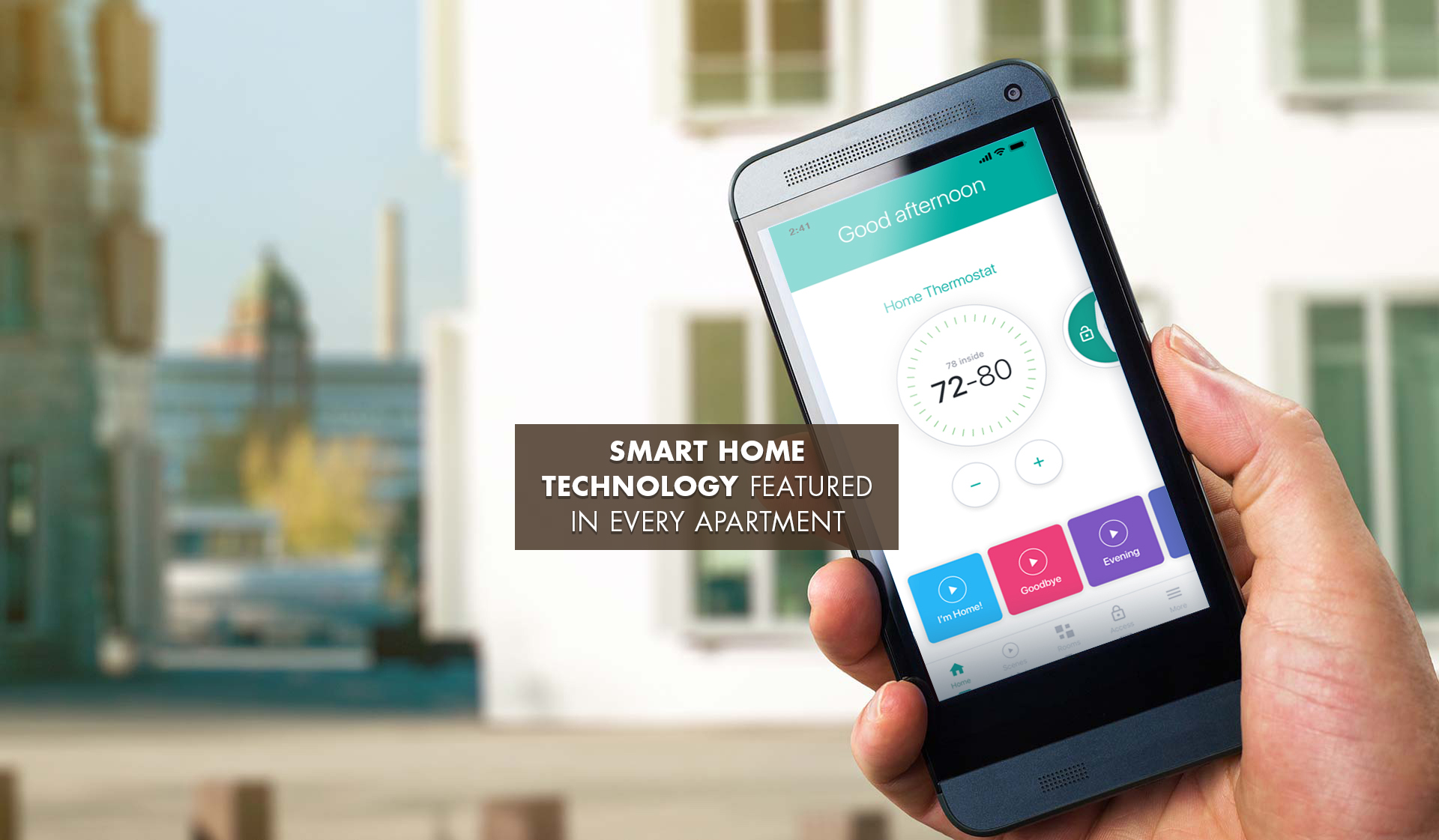 Creekside Apartments - hand holding smartphone with thermosat settings on screen - denver, CO